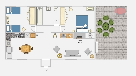 2 bed cottage floor plan